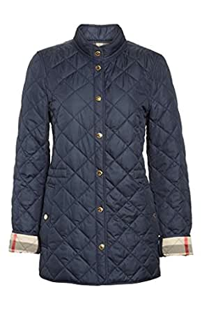 Burberry Womens Pensham Check Cuffs Diamond Quilted Jacket In Ink Blue At Amazon Women