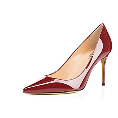 MODEMOVEN Women's Wine Red Pointed Toe Pumps Slip-on Office Business High Heels Sexy Stiletto Shoes 6 M US