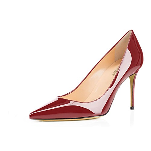 Modemoven Women's Wine Red Pointed Toe Pumps Slip-on Office Business High Heels Sexy Stiletto Shoes 6 M (Patent Pumps)