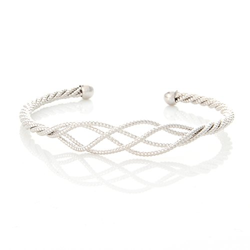 Laonato Twisted Wave Bangle Bracelet (White Gold) (White Bracelet Gold Wave)
