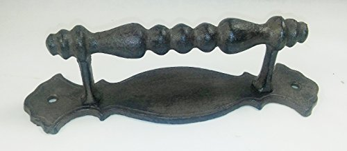 Aunt Chris' Products - Heavy Cast Iron - Large Door Handle - Fancy Victorian With Backing - Use Indoor Or Outdoor - Barn Handle, Gate, Pull Shed, Door Handles, Trunk, Chest, (Trunk Pull)