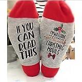Tulas Hallmark Movies Soft Socks Christmas Letters Printed Women Winter Warm Socks Gifts (Red Flower,1 Pair)