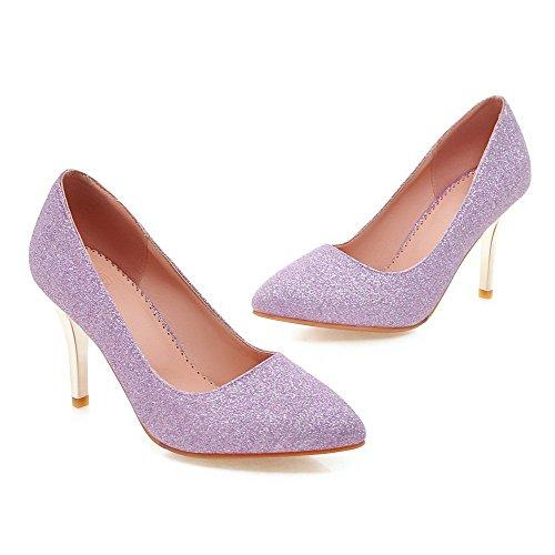 Femme Agoolar Paillette Tire Haut Violet Chaussures Tissu Talon Légeres À Pointu Couleur Unie rr6Cwq