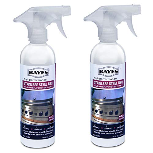 Bayes High-Performance Stainless Steel BBQ Cleaner, Polish, and Protectant - Cleans, Shines and Protects Exterior Stainless Steel Barbecue Surfaces, Shields from Outdoor Elements - 16 oz, 2-Pack