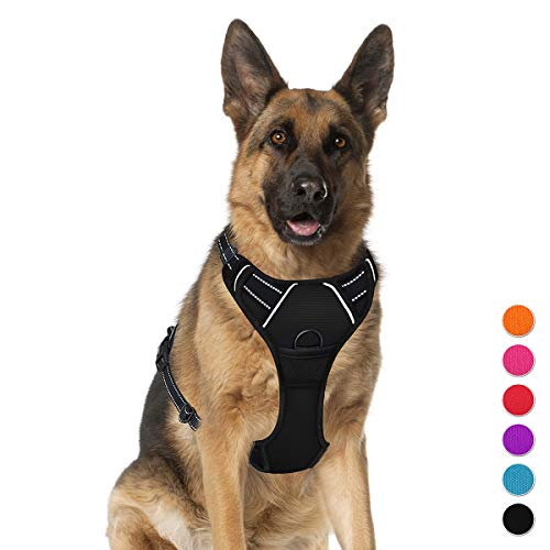 No Pull Pet Harness Dog Harness Adjustable Outdoor Pet Vest 3M Reflective Oxford Material Vest for Dogs Easy Control for Small Medium Large Dogs XL BARKBAY