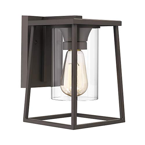 Emliviar Exterior Wall Lights, Indoor Wall Sconce in Oil Rubbed Bronze Finish with Clear Glass Shade, 3043-BA1
