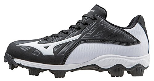 Mizuno 9 Spike ADV Yth FRHSE 8 BK-WH Youth Molded Cleat (Little Kid/Big Kid), Black/White, 2.5 M US Little Kid