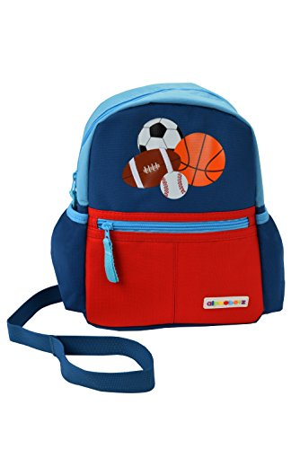Alphabetz Sports Toddler Backpack with Safety Harness Leash, Blue, Red, Universal Size