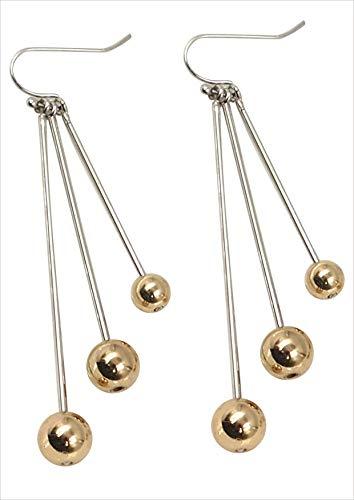 Brass Ball Earrings,Brass ball drop Earrings with Fish Hook for Women (Rhodium Bar + Gold Ball)-Jewelry Trends 2019