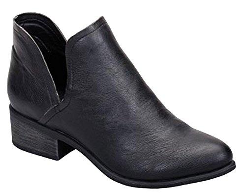 Breckelles Donna Open Slip On Boot Con Tacco Nero