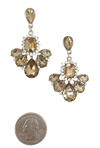Silver Tone Antique Vintage Retro Brown Citrine Amber Champagne Topaz Rhinestone Dangle Earrings