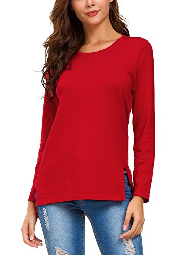 Solid Pullover Sweater - Urban CoCo Women's Solid Pullover Sweater Side Slit (M, Red)