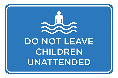 Do Not Leave Children Unattended Blue White Print Horizontal Poster Swimming Pool Area Rules Outdoor Notice Sign by iCandy Combat