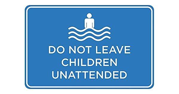Amazon.com: No dejar a los niños Unattended Azul y Blanco ...