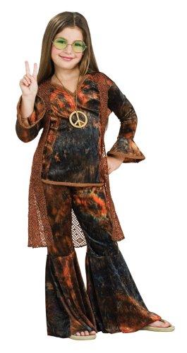 Woodstock Girl Costumes (Feeling Groovy Child's Brown Woodstock Diva Costume, Large)