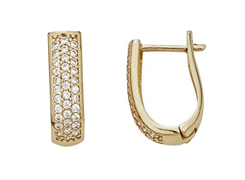 14K Yellow Gold High Polished Three-Row Cubic Zirconia Long U-Shaped Huggie Earring ()