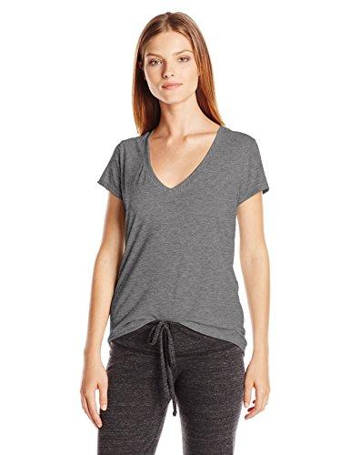 Alternative Women's Melange Burnout Jersey Slinky V-Neck Shirt, Ash Heather, Large