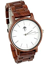 Viable Harvest Real Sandalwood Watch White Face and Leather Band (WoodBand)