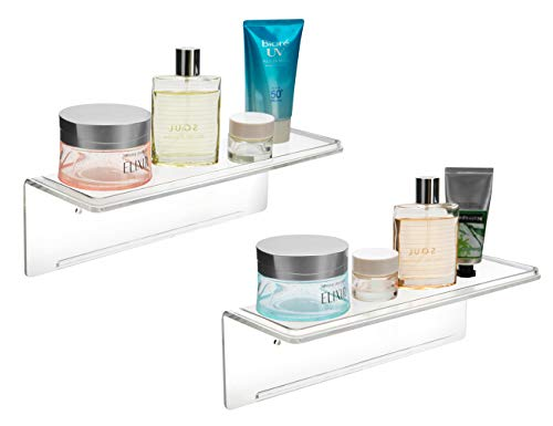Mkono Adhesive Acrylic Floating Shelves 10-Inch Wall Display Shelf Bathroom Organizer Kitchen Storage Rack No Drilling, Set of 2, Clear