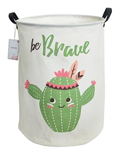 CLOCOR Large Storage Basket,Canvas Fabric Waterproof Storage Bin Collapsible Laundry Hamper for Home,Kids,Toy Organizer(Cartoon Cactus)