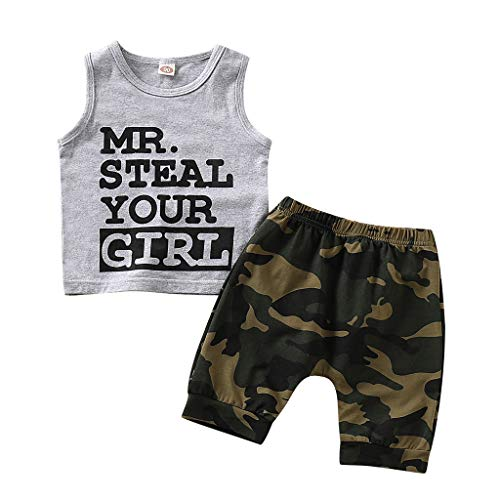 Sunyastor Toddler Baby Infant Boy Clothes Mr Steal Your Girl Sleeveless Vest +Camouflage Shorts Summer Outfit Sets ()