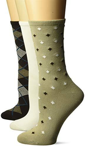 Hanes Women's ComfortSoft Crew Socks 3-Pack, brown argyle, 9-11 (Shoe Size 5-9) ()