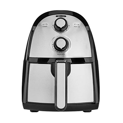 BELLA 14752 2.6 Quart Electric Hot Air Fryer with Removable Dishwasher Safe Basket, Stainless Steel