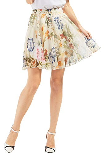 (Chartou Women's Elegant Summer Full Length Boho Floral Print Pleated Chiffon Long Maxi Skirt Dress (White-Knee Length, X-Small))