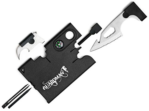 Guardman Upgraded 12 in 1 Tool Card with Fire Starter and Whistler Survival Credit Card Camping Knife Valentines Gifts For Men (Valentines Men Gift)