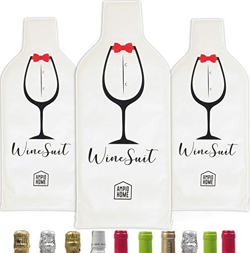 3 Set (6 pcs) Reusable Wine Bags for Travel | Wine Bottle Protector | Bottle Travel Sleeve Bag for Airplane | Protective Skin Tough Leak Proof | Wine Accessory