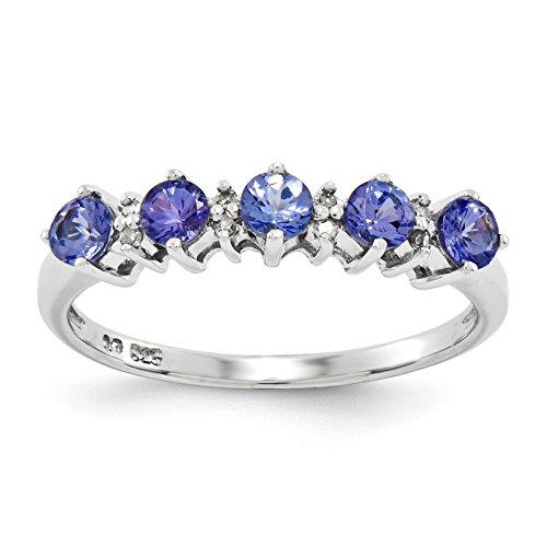Sterling Silver Tanzanite & Diamond Ring - Size 7