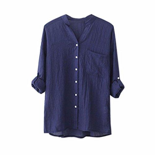 Longues Manches Pour Mode Courtes En Blouse Et Mesdames Lin Coton Bleu De À Femmes Chemise Lâche Décontractée Amuster Col axgnwEYt1