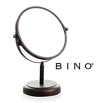 BINO 'The Classic' 6.5-Inch Double-Sided Mirror with 3x Magnification, Bronze - Double-sided mirror swivels 360 degrees 1x and 3x magnification allows you to see every detail Beautiful matte bronze finish - bathroom-mirrors, bathroom-accessories, bathroom - 41PJze3WRxL. SS400  -