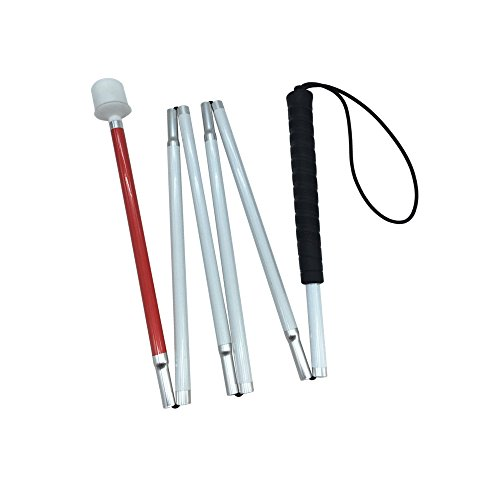 White Canes Blind - Aluminum Mobility Folding White Cane for Vision Impaired and Blind People (Folds Down 6 Sections) (130cm (51.2inch), Black Handle)