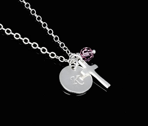 God Daughter Gift, Personalized Confirmation Necklace, First Communion or Baptism Gift, Sterling Silver with Swarovski Crystal, Confirmation Present