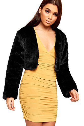 WearAll Women's Faux Fur Long Sleeve Cropped Open Collarless Cape Top Jacket - Black - US 8 (UK 12) Faux Fur Cropped