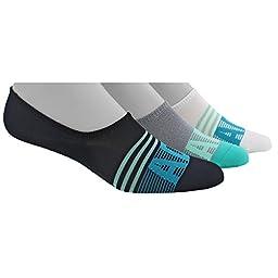 adidas Women\'s Adistripe Super No Show Socks (3 Pack), Black/Easy Green/Lab Green/Onyx Marl/White, Medium