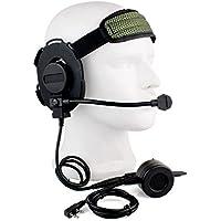 Buwico® HD01 Z Tactical Bowman Elite II 2 Pin Headset with U94 Style PTT for Kenwood Two Way Radios Baofeng Woxun Puxing Walkie Talkies