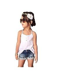 Orangeskycn Kids Baby Girls Outfits Set Tank Top T-shirt Dress+Jeans Pants Clothes