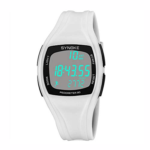 (Sports Watch,Watch for KidsSports Watch Calorie Pedometer Chronograph Outdoor Watches 50m Waterproof(White) )