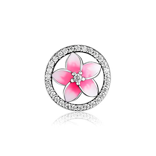 CKK Flower Charm Fit Pandora Bracelet Purple Enamel Plumeria Spacer Bead Charms for Bracelets DIY Women Jewelry 925 Sterling Silver (Pink Crystal)
