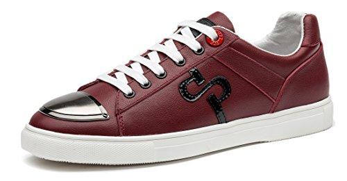OPP Casual Hombres Zapatos Rojo Sneakers de Piel Cuero fFfW4xTH