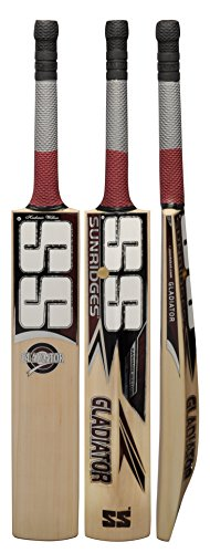 Cricket Bat SS Gladiator Kashmir Willow Full Adult Size Short Handle by Sunridges with free SS Sunridges Bat Cover - Bat suitable for playing with normal cork ball or heavy tennis ball by SS Sports