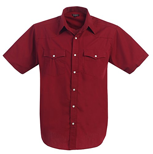 Gioberti Mens Casual Western Solid Short Sleeve Shirt With Pearl Snaps, Burgundy, X Large (Shirt Man Western)