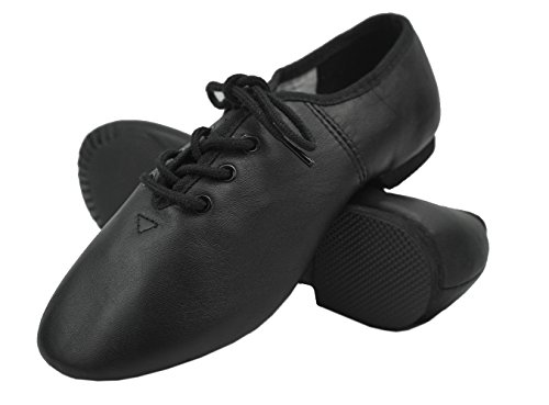 DANCEYOU 1301 Lace-Up Leather Upper Jazz Shoe Split Sole For Women and Men Black 230 mm