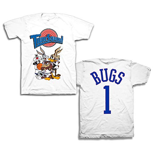 space jam Mens Classic Shirt - Tune Squad Michael Jordan & Bugs Bunny Tee 90's Classic T-Shirt (White, XL)