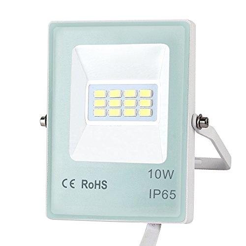 Beacon Pet IP65 Waterproof LED Outdoor Flood Lights 10W/20W/30W/50W Super Bright Floodlight, Aluminum + Glass Body, 3000K Warm White Security Light (10w 800lm) ()
