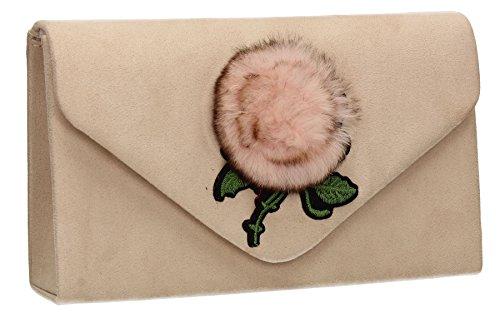 Suede Faux Fur Clutch Womens SwankySwans Nude Poppy q8IPPF