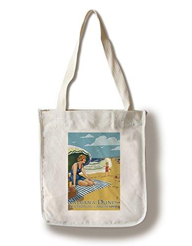 (Lantern Press Indiana Dunes National Seashore, Indiana - Woman on Beach (100% Cotton Tote Bag - Reusable))