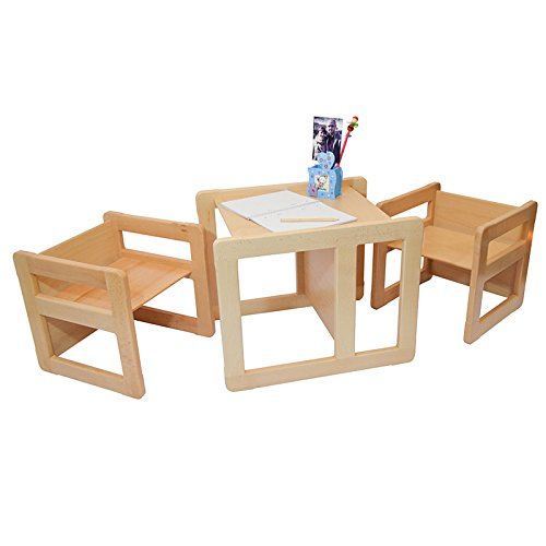 3 in 1 Childrens Multifunctional Furniture Set of 3, Two Small Chairs or Tables and One Large Chair or Table Beech Wood, Natural by Obique Ltd